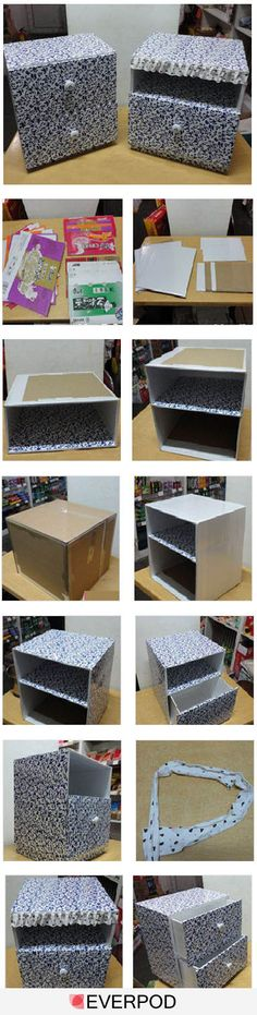 Make a decorative storage box with drawers out of a cardboard box.DIY cardboard drawers - such an awesome idea!Most inspiring pictures and photos!Picture Tutorial for organizer drawerslil drawers for the bathroom Diy Storage Boxes, Decorative Storage Boxes, Craft Storage, Storage Drawers, Storage Chest, Cardboard Furniture, Cardboard Crafts, Diy Furniture, Cardboard Boxes