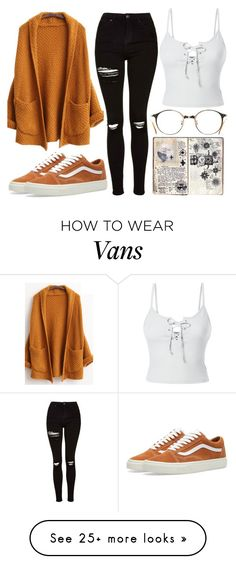 """First day of collage"" by brooklyn338 on Polyvore featuring Topshop, Vans, LE3NO and vintage"