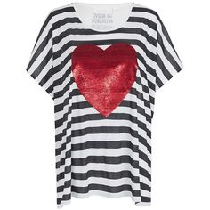 Sass & Bide Cast In Heart Sass & Bide X Barnardos Tee (45 KWD) ❤ liked on Polyvore featuring tops, t-shirts, shirts, black and white, t shirt, print t shirts, heart t shirt, over sized t shirt and sequin t shirt