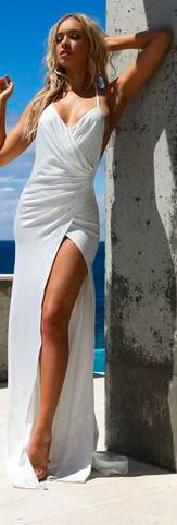 Abyss by Abby Romi gown fitted stretch material, with shine finish tie halter neck style lined on bust, bottom pant lining attached to dress sheer on bottom skirt Roxy wearing size XS an is XS S M L Bust 78 81 85 89 Waist 61 64 68 72 Hip 80 83 87 91 Sheer Dress, White Dress, Halter Neck, Gowns, How To Wear, Collection, Dresses, Style, Fashion