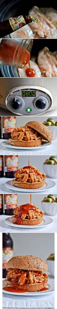 """Slow Cooker BBQ Beer Chicken recipe - click on the picture which takes you to the link and scroll down past the pictures and click on """"Get the full step-by-step recipe here!"""""""
