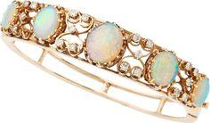 Estate Jewelry:Bracelets, Opal, Diamond, Gold Bracelet. ...