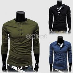 25% Off New Fashion Korean Men's Top Casual Double-breasted Solid Color T-shirt 3Colors