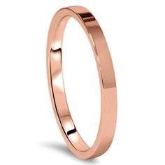 Rose Gold Wedding Band Womens 14K 2MM Flat High Polished Plain Anniversary Ring Size (4-10)