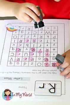FREE Alphabet Maze Kindergarten Literacy, Preschool Classroom, Preschool Learning, Preschool Activities, Alphabet Sounds, Alphabet Writing, Alphabet Worksheets, Teaching Letters, Preschool Letters