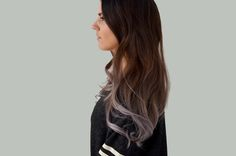 Beauty Aspect: Ombre hair dye with silver grey ends: SOYL Story. Silver Ombre Hair, Dyed Hair Ombre, Silver Dip, Brown To Grey Ombre, Purple Ombre, Dark Brown, Locks, Hair Day, Dark Hair
