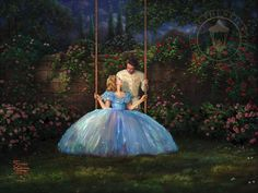 """""""Dreams Come True"""" by Thomas Kinkade ・ – Limited Edition Art ・  ========================== This romantic image inspired by the Disney live action movie, Cinderella, captures the true love that Ella and the Prince have found in one another. After spending an enchanting evening together at the royal ball, they are alone for the first time. A beautiful conversation leads them to realize they have found what their hearts have been longing for."""