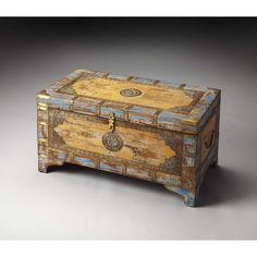 Butler Nador Painted Brass Inlay Storage Trunk 3365290