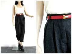 Vintage Daniel Hechter High Waist Button Fly Wool Pants at sweetasvintage