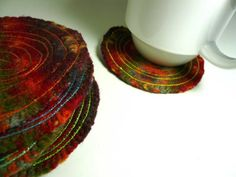 color therapy 8 wool coasters by olivebrown on Etsy