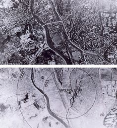 August 9, 1945 (click to enlarge) - Nagasaki, Japan - seen here before and after the atomic bombing. Even though Hiroshima had been devastated three days earlier, the Japanese stubbornly refused to surrender, thus provoking this follow-up.    http://upload.wikimedia.org/wikipedia/commons/4/4e/Nagasaki_1945_-_Before_and_after_%28adjusted%29.jpg