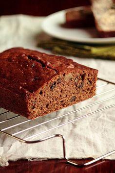 Zucchini Bread. The bread has hints of cinnamon and nutmeg and is made with brown sugar, which gives a hint of molasses to the finished product.