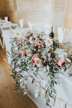 Top Table Flowers Foliage Rose Protea Pink Wild Eucalyptus Boho Greenery Barn Wedding Kerry Diamond Photography - Famous Last Words Protea Wedding, Floral Wedding, Wedding Bouquets, Quirky Wedding, Boho Wedding, Elegant Wedding, Wedding Reception, Wedding Gifts, Destination Wedding