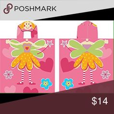 "Pink Fairy Kids Hooded Beach/Bath Towel/Cover Up Pink Fairy Kids Hooded Beach/Bath Towel  100% cotton  Hooded towel measures 24 X 48""  100% Cotton  Poncho Style and opens on the sides  Great for Bath and Beach Swim"