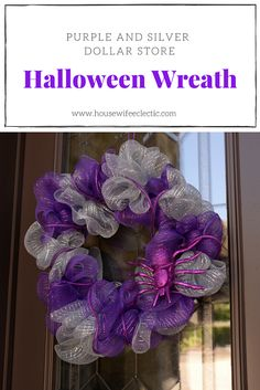 Forget black and orange, this gorgeous Purple and Silver Dollar Store Halloween Wreath is the perfect way to add a little spooky to your front door.