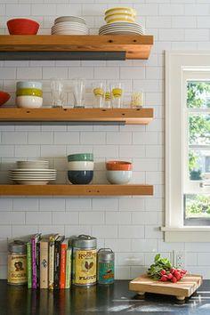Reclaimed lumber floating shelves Kitchen by Allison Landers at Sicora Design Build
