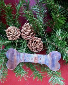 Dog Bone Christmas Ornament made from recycled by MebanePioneer, $12.50