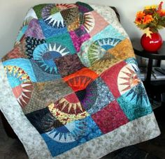 "New York Beauty Quilt Scrappy Style 56"" x 72"""" multicolor with minky backing by QuiltloverQuilts for $304.00"