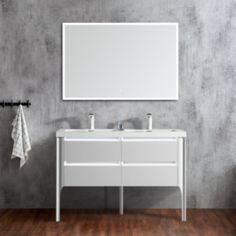 48 inch Double Bathroom Vanity With LED Light. This is 48 Inch a highly luxurious bathroom vanity company Dowell. 48 Inch Double Vanity, Double Sink Vanity, Vanity Sink, Bathroom Vanity Cabinets, Bathroom Vanities, Led Licht, Bathroom Styling, Inspiration, Design