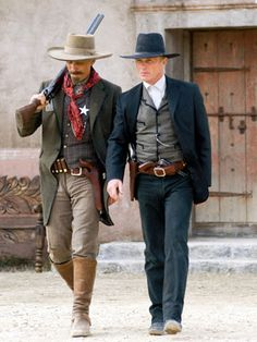 """Appaloosa - directed by Ed Harris. """"Of course he's willing to die. You think we do this kind of work because we're scared to die?"""" Viggo Mortensen and Ed Harris as Everett Hitch and Virgil Cole in Appaloosa. Appaloosa, Viggo Mortensen, Wild West Costumes, Western Costumes, Cowboy Action Shooting, Tv Westerns, Cowboy Up, Cowboys And Indians, Great Western"""