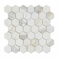"Calacatta Gold Marble Honed 2"" Hexagon Mosaic Tile"