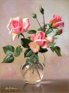 Albert Williams Pink Roses in a Glass Jug Poster at Posterlounge ✔ Fast delivery ✔ Large selection ✔ High quality prints ✔ Buy Albert Williams posters now! pink Albert Williams - Pink Roses in a Glass Jug Oil Painting Flowers, Watercolor Flowers, Watercolor Art, Rose In A Glass, Art Du Monde, Rosa Rose, Glass Jug, Plant Drawing, Rose Art