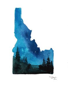 Idaho print from original watercolor by by JessicaIllustration