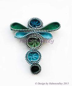 Zipper Dragonfly - brooch, hairclip, keyring  or bag charm. handmade zip craft £15.00
