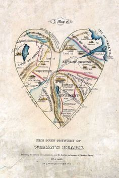 Maps--imaginary --Map of Woman's Heart, 19th century
