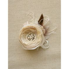 Rustic Wedding Hairpiece, Bridal Flower Hair Clip Fascinator Vintage... ($38) ❤ liked on Polyvore featuring accessories, hair accessories, hair fascinators, flower hair clips, feather hair clips, fascinator hat and bridal flower hair accessories