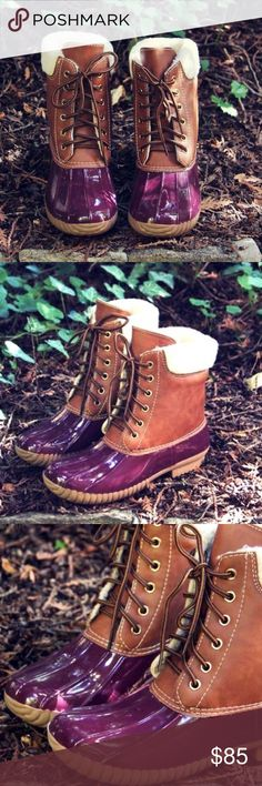 """✨COMING SOON✨ Wine Duck Boots These gorgeous bordeaux and tan duck boots are perfect for the Fall and Winter days! Waterproof rubber base and sole with a lace up front. Cozy Sherpa cuff and interior lining.   Heel Height: 1"""" . Runs true to size.   * Before asking, please note whatever sizes are listed below are all I currently have in stock.   ▫️Add to Bundle"""" to add more items in my closet or """"Buy"""" to checkout here with your size.  ↓Follow me on Instagram ↓         @ love.jen.marie Shoes…"""