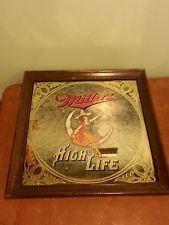Vintage Beer Advertising Bar Sign Mirror Miller High Life Maid On The Moon