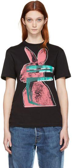 Glitch Bunny Printed Cotton T-Shirt, Darkest Llack