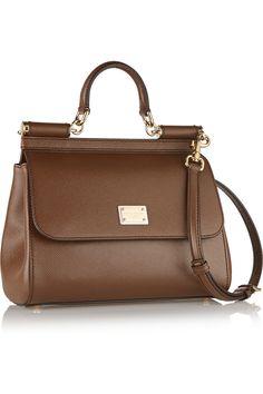 Dolce & Gabbana|Sicily medium textured-leather shoulder bag|NET-A-PORTER.COM