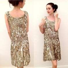 Spectacular 1920s flapper dress beaded and sequinned couture