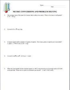 More dimensional analysis worksheet