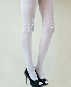 Frost White Bridal Opaque Studded Tights Bridal by Lalilouche, $59.00
