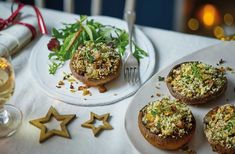 For a vegetarian starter this Christmas, try these chestnut-stuffed mushrooms, topped with a crisp walnut crumb. See more Christmas starters at Tesco Real Food. Christmas Dinner Starters, Easy Christmas Dinner, Vegan Christmas, Vegetarian Christmas Dinner, Christmas 2019, Vegetarian Starters, Vegan Starters, Christmas Entrees, Christmas Recipes