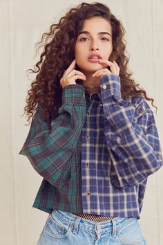Slide View: 1: Urban Renewal Recycled Spliced Button-Down Cropped Flannel Shirt