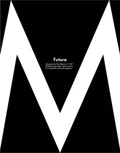 simple, beautiful type specimen poster futura. really shows the sharp edges and angles of the typeface