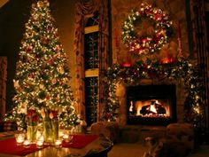 Warm Welcoming Fireplace With A Cabin Tree Of Christmas Joy!
