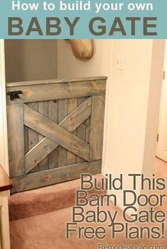 Barn door Gate for the home. Randolph Pritchett DIY Barn Door Baby Gate (Plans and photos!) I AM thinking a great gate to keep our dog in the mud room as well Baby Gate For Stairs, Barn Door Baby Gate, Baby Gates, Diy Barn Door, Pet Gate, Door Gate, Baby Door, Doggie Gates, Wood Baby Gate