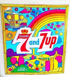 VINTAGE 1960'S SEAGRAMS - SEVEN-UP BLOW-UP ADVERTISING PILLOW, PETER MAX #7upSeagrams