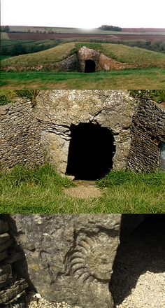 3 images of Stoney Littleton long barrow, Somerset, england, a beautiful neolithic long barrow, built around 6,000 years ago. The ammonite fossil is near the bottom left side of the entrance.