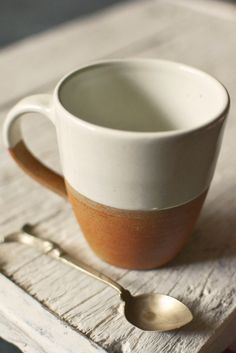 Dipped terracotta mug: white from Decorator's Notebook