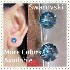 Aquamarine Blue Swarovski Rhinestone Clip on earring |C15s| Non Metal Hypoallergenic Non Pierced Earring, Magnetic Earring Alternative