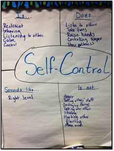 "Character education anchor chart for ""self-control,"" the 'S' in CARES."