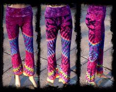 Tie Dye Yoga Pants  Festival Pants  OOAK by GratefullyDyedDamen