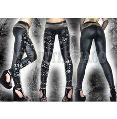 Glam Rock Glitter Stars Studded Leggings tights pants