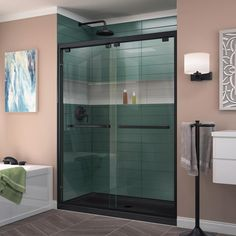 DreamLine Encore H x to W Semi-Frameless Bypass/Sliding Oil Rubbed Bronze Shower Door at Lowe's. The DreamLine Encore bypass sliding shower or tub door has a modern frameless look to make your shower the focal point of the bathroom. Shower Base, Shower Floor, Shower Enclosure, Shower Faucet, Shower Stalls, Frameless Sliding Shower Doors, Sliding Doors, Barn Doors, Door Hinges
